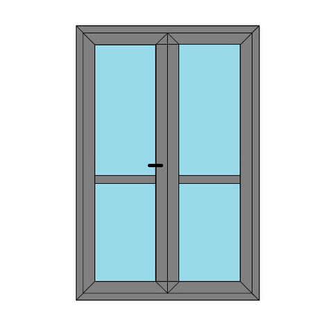 Double Doors - Midrail and Glass- Static Caravan French Doors - Style 4M