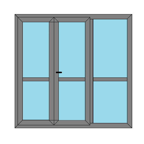 Double Doors - 1 Side Panel with Midrail  - Static Caravan Windows and Doors - Style 5M