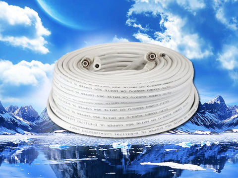 75' Siamese Coax/DC Power Pre-Made Cable - White