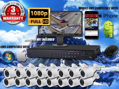 16 CAMERA 1080P INDOOR/OUTDOOR BULLET 65FT NIGHT VISION WHITE KIT