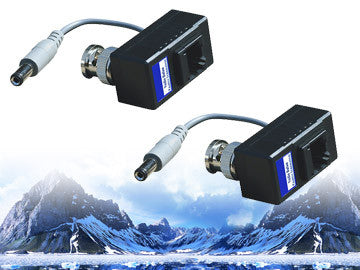 Single Channel DC 12V Power and Video Passive Balun, 1 Pair