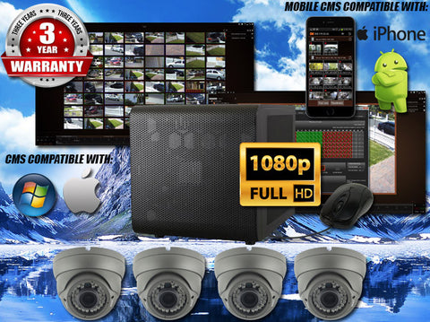 2MP INDOOR/OUTDOOR BULLET 75 FT NIGHT VISION FOUR CAMERA KIT