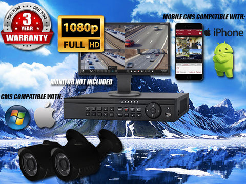 1080P INDOOR/OUTDOOR BULLET 50 FT NIGHT VISION TWO BLACK CAMERA KIT