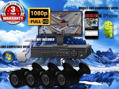 1080P INDOOR/OUTDOOR BULLET 50 FT NIGHT VISION FOUR BLACK CAMERA KIT