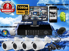 1080P INDOOR/OUTDOOR BULLET 50 FT NIGHT VISION FOUR WHITE CAMERA KIT