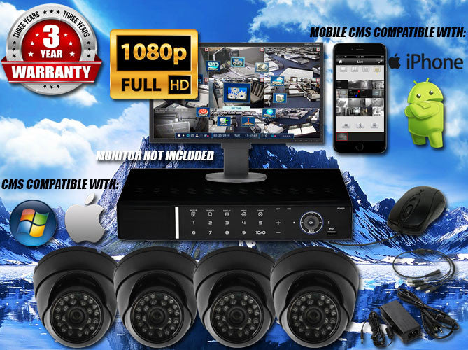 1080P INDOOR/OUTDOOR DOME 50 FT NIGHT VISION FOUR BLACK CAMERA KIT