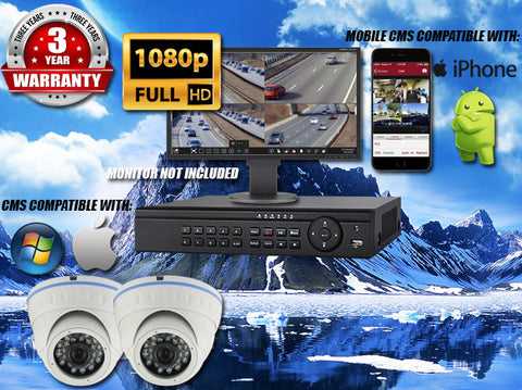 1080P INDOOR/OUTDOOR DOME 50 FT NIGHT VISION TWO WHITE CAMERA KIT