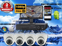 1080P INDOOR/OUTDOOR DOME 50 FT NIGHT VISION FOUR WHITE CAMERA KIT