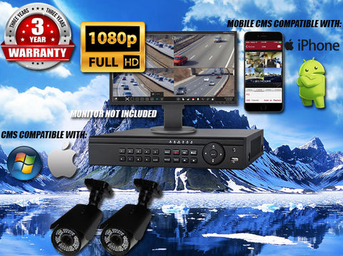 1080P INDOOR/OUTDOOR ADJUSTABLE FOCUS BULLET 150 FT NIGHT VISION TWO BLACK CAMERA KIT