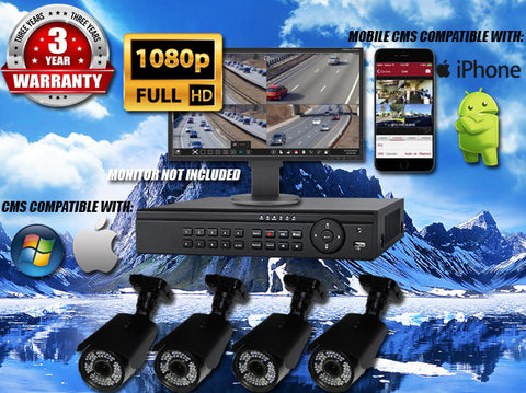 1080P INDOOR/OUTDOOR ADJUSTABLE FOCUS BULLET 150 FT NIGHT VISION FOUR BLACK CAMERA KIT