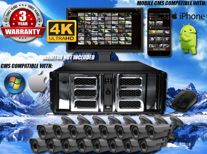 4MP INDOOR/OUTDOOR BULLET 75 FT NIGHT VISION TWENTY-FOUR CAMERA KIT