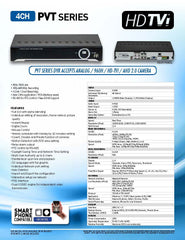 Hybrid 4 channel HD-TVI/AHD/960H/D1 1080P HD Security DVR