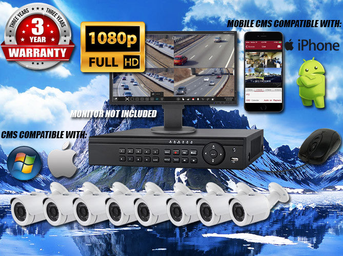 1080P INDOOR/OUTDOOR BULLET 65 FT NIGHT VISION EIGHT WHITE CAMERA KIT