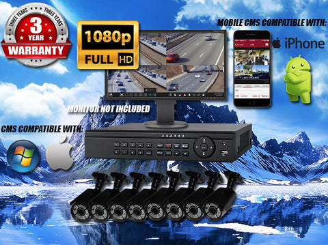1080P INDOOR/OUTDOOR ADJUSTABLE FOCUS BULLET 150 FT NIGHT VISION EIGHT BLACK CAMERA KIT