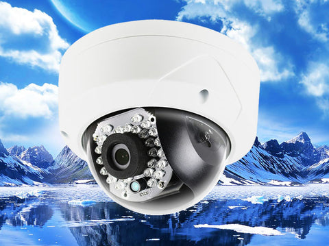 4.1MP WHITE Vandal-Proof 2.8mm Infrared Dome IP Camera, POE