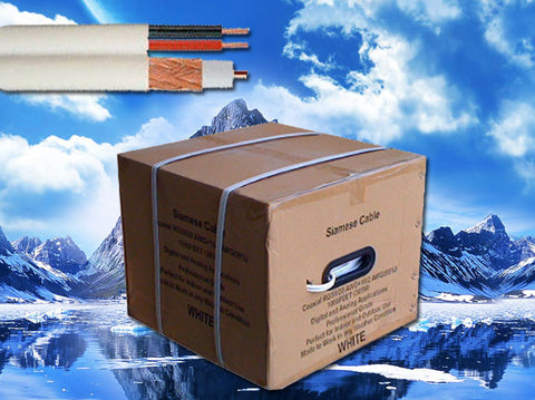 500 ft RG59+DC Copper Siamese Cable Pull box White Color