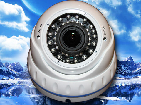 SC-960-VDIR-WHITE 700 TV Lines IR DOME 960H CAMERA CCD White 2.8~12MM VARIFOCAL LENS SONY EFFIO-E, Saber CCTV
