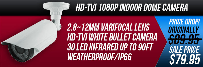 1080P HD-TVI white Varifocal 2.8mm~12mm Bullet Camera