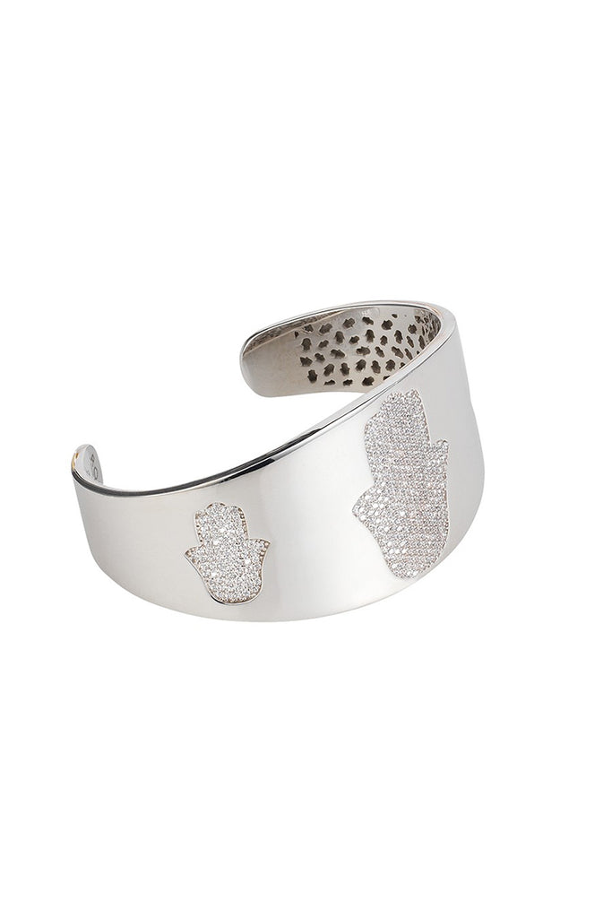 Hamsa Bangle White Rhodium