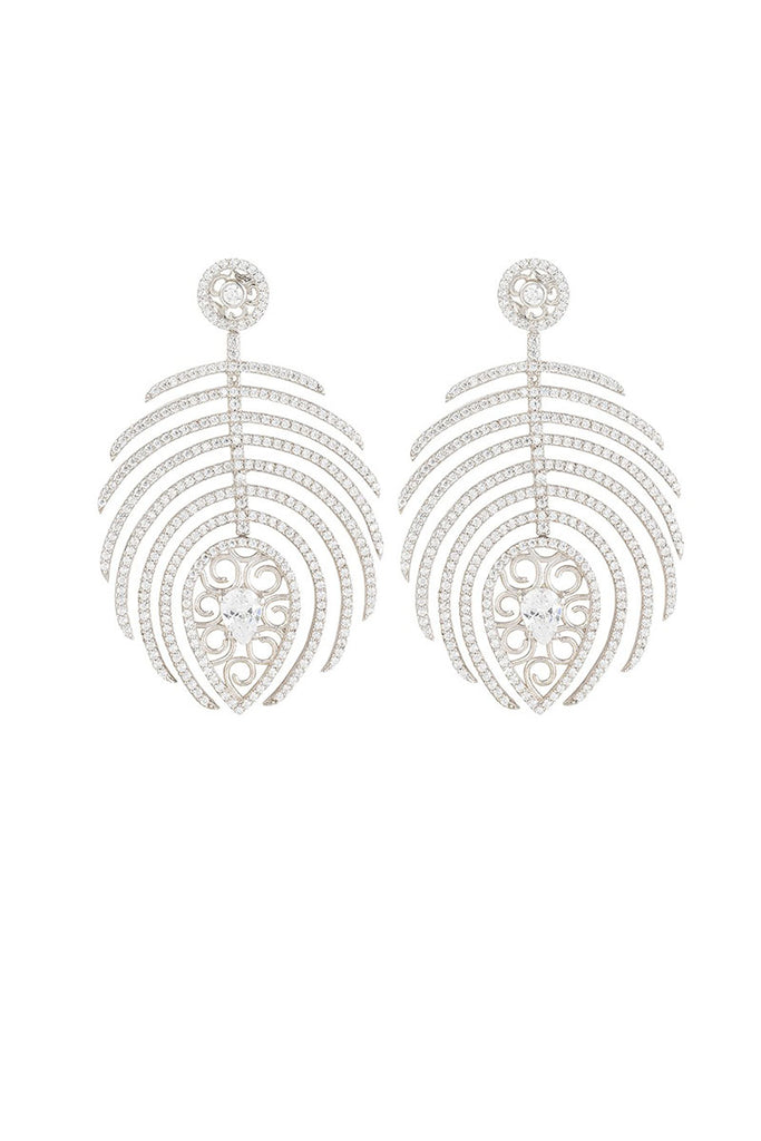 Feather Earrings White Rhodium