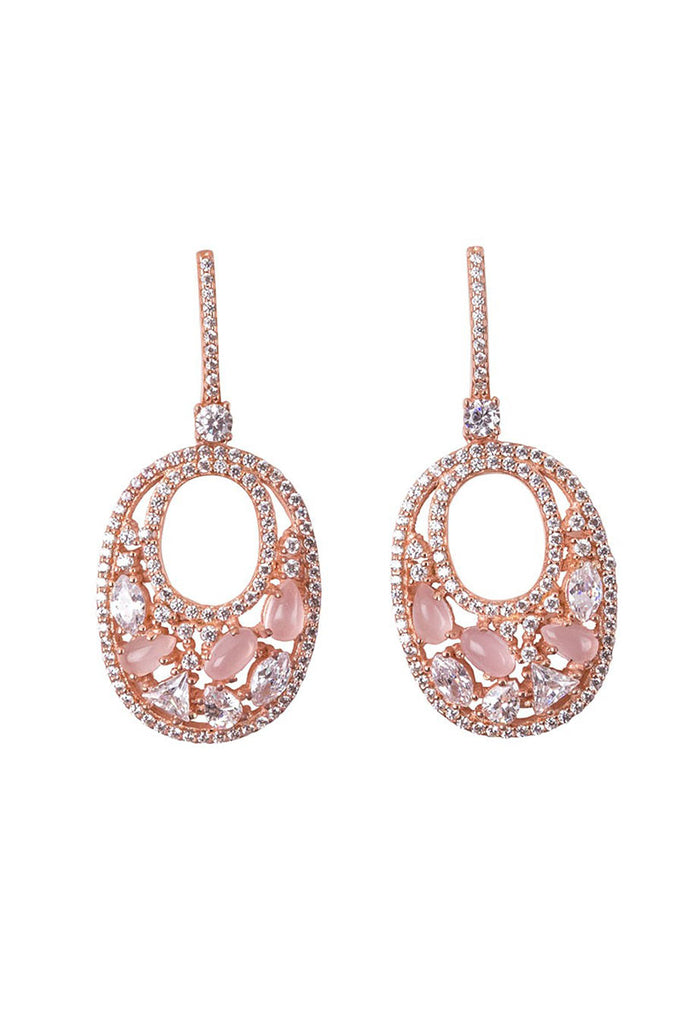 Ovalis Mosaic Earrings Rose Gold