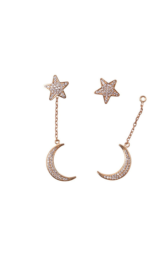 Star and Moon Earrings Yellow Gold