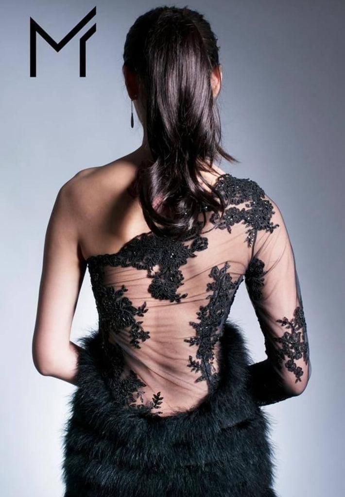 Black Lace Feather Dress Off The Shoulder One Long Sleeve