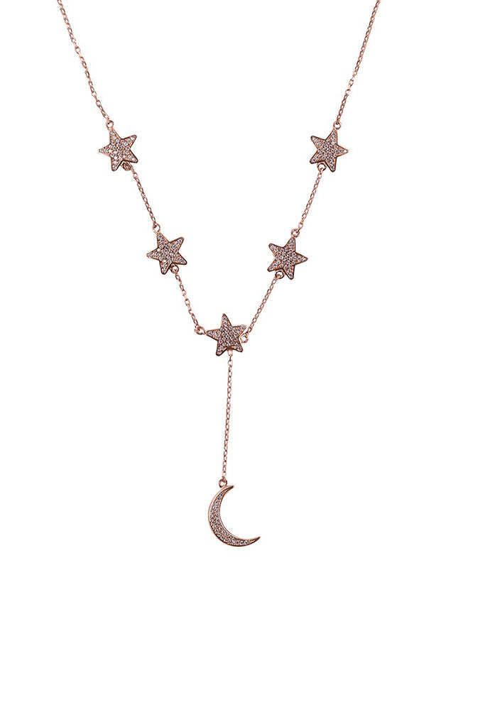 Star and Moon Necklace Rose Gold