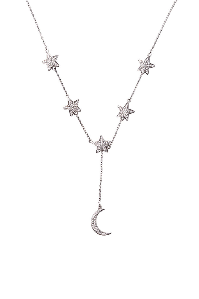 Star and Moon Necklace White Rhodium
