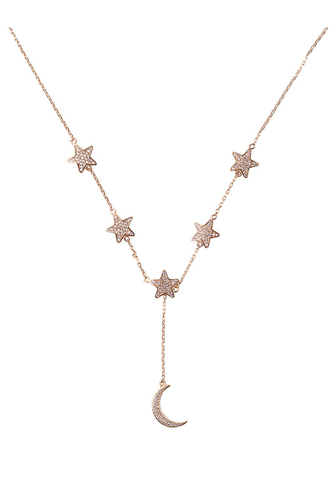 Star and Moon Necklace Yellow Gold