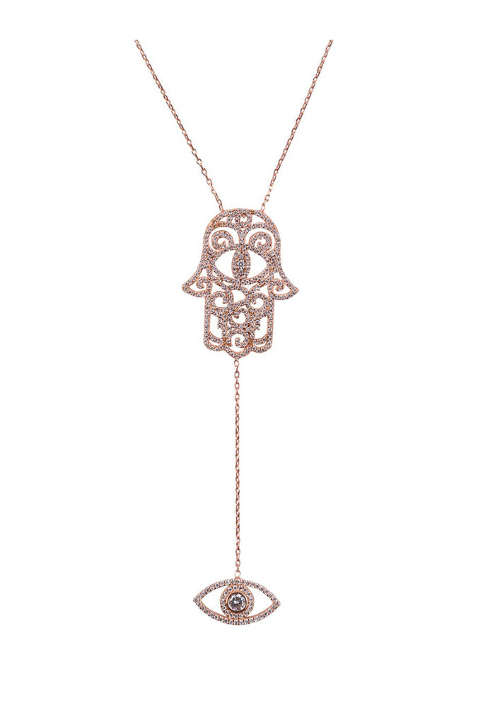 Hamsa and Eye Pendant Rose Gold
