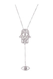 Hamsa and Eye Pendant White Rhodium