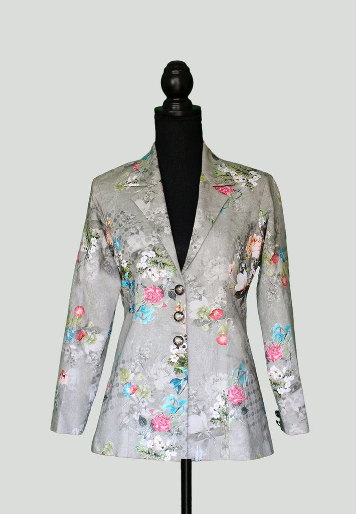 Tonal Grey Blazer with floral prints in Silk Blend - One of limited piece