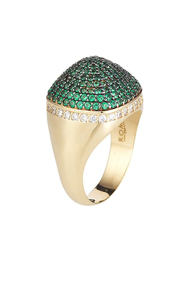 Dome Cocktail Ring Rose Gold Vermeil Emerald Green Cz Stones