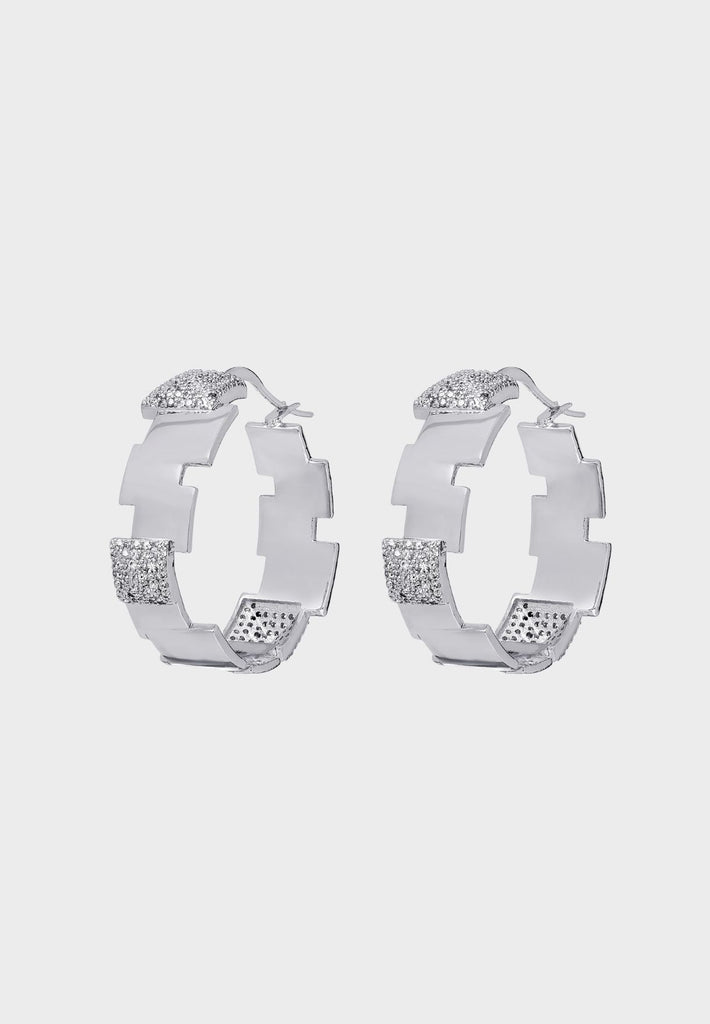 Designer premium earrings with 3D cube covered with Zircons