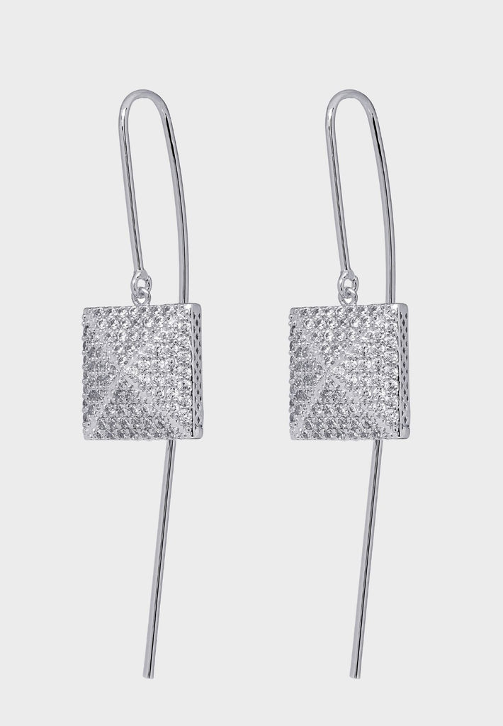 Handmade designer earring 3d cube covered with Ziricons