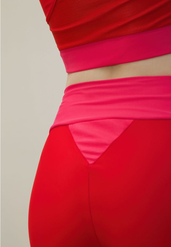 High-Waist Tights Made From Recovered Sea Fishing Nets | Adrenaline Red | Charged Pink