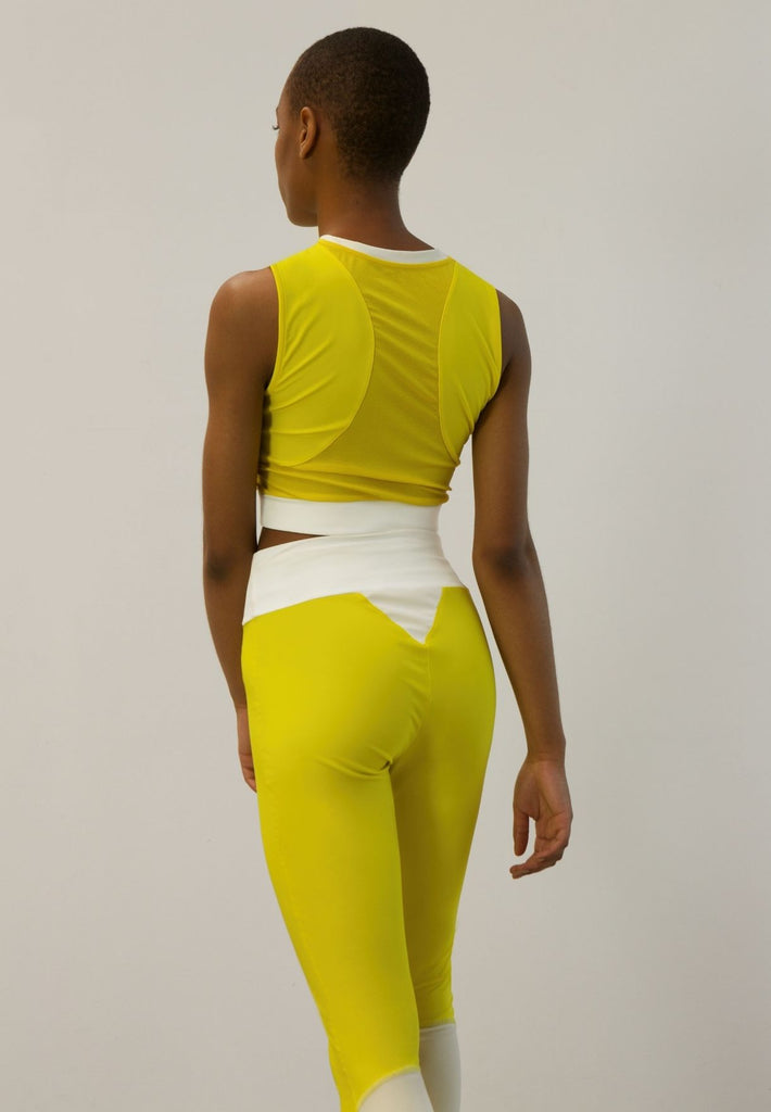 High-Waist Tights Made From Recovered Sea Fishing Nets | Energetic Yellow| Ivory White