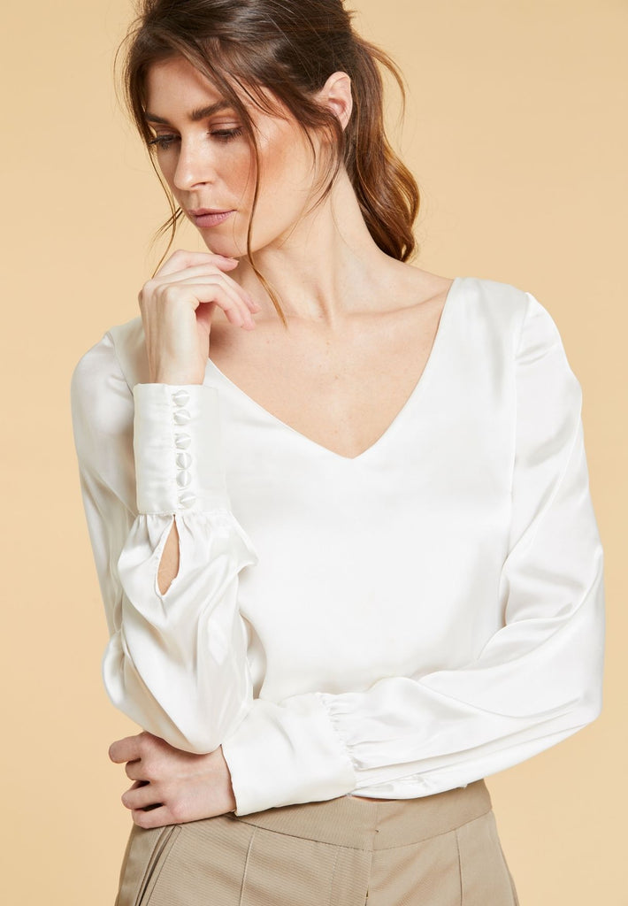 Ivory Top With Button Cuff