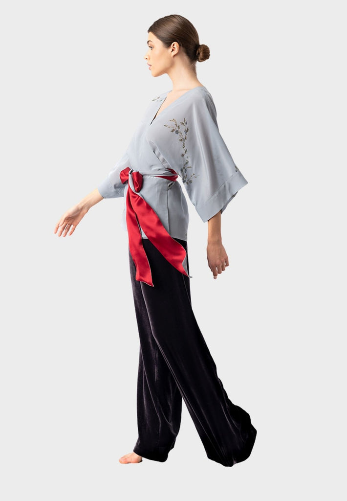 Silk Kimono Top Light Blue