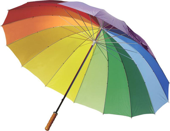 Rainbow Coloured Classic Walking Umbrella