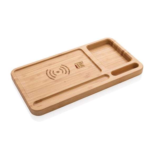 Bamboo Desk Organizer 5W Wireless Charger - Promotions Only Group Limited