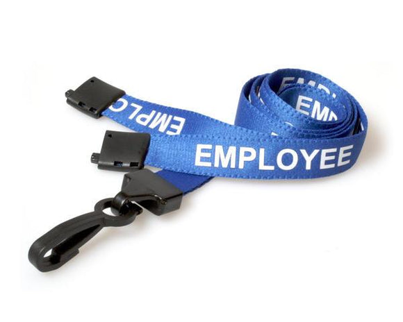Blue Employee Lanyards with Plastic J Clip