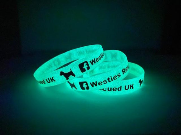 Glow in the Dark Debossed Colour Filled Silicone Wristbands