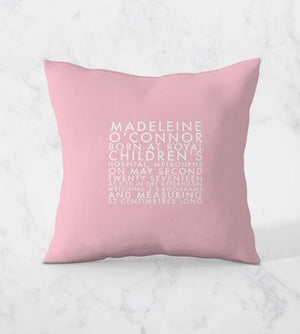 Personalised Birth Announcement Cushion