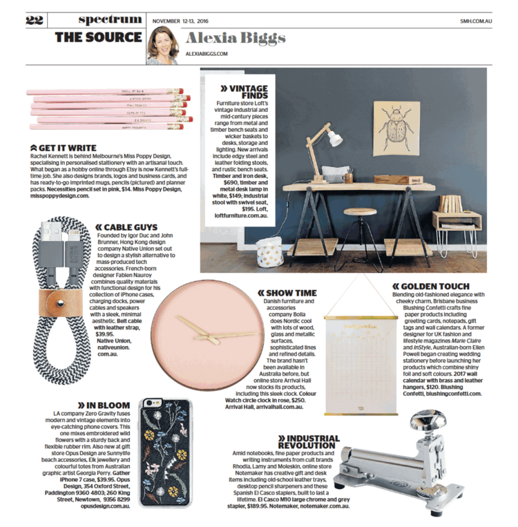 Miss Poppy Design featured in Sydney Morning Herald