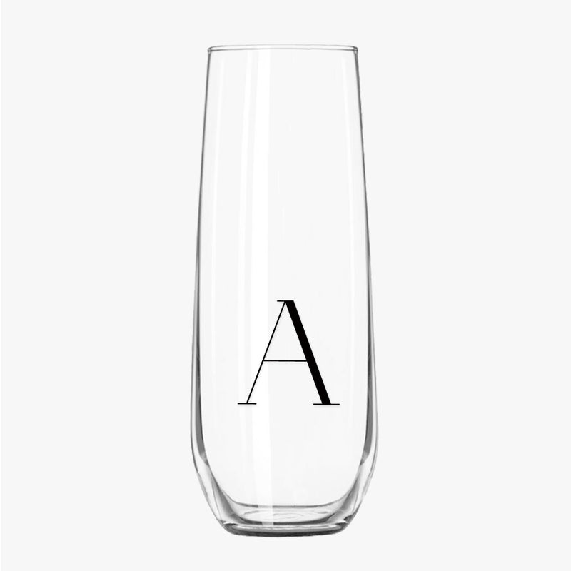 Stemless Champagne Flutes - Initial