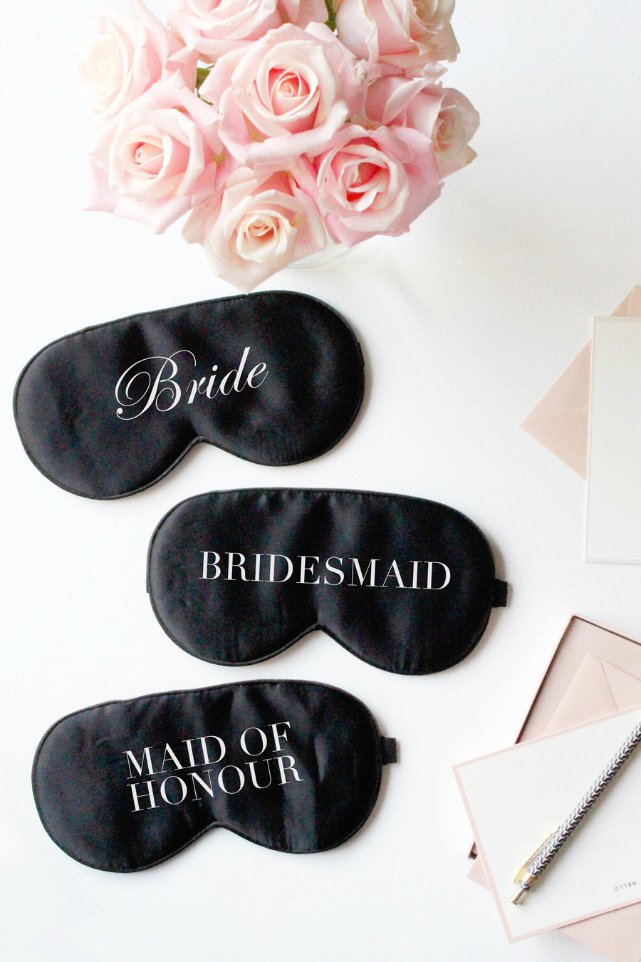 Bridal Silk Eye Mask Pack- Black