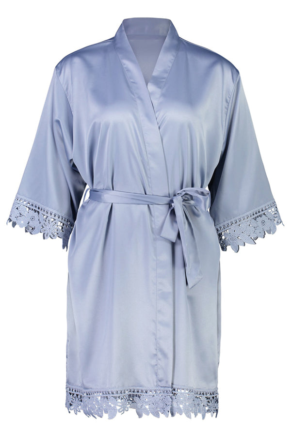 Lilah Lace Trim Robe Duck Egg Blue