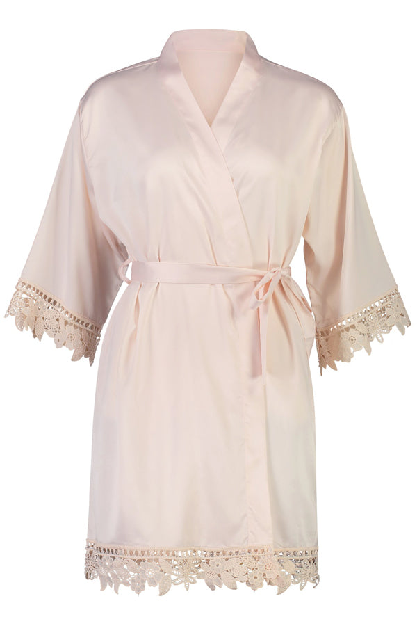 Personalised Lilah Lace Robe Blush